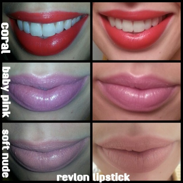 Revlon Lipstick in Coral, Baby Pink, Soft Nude & Fuchsia Swatches