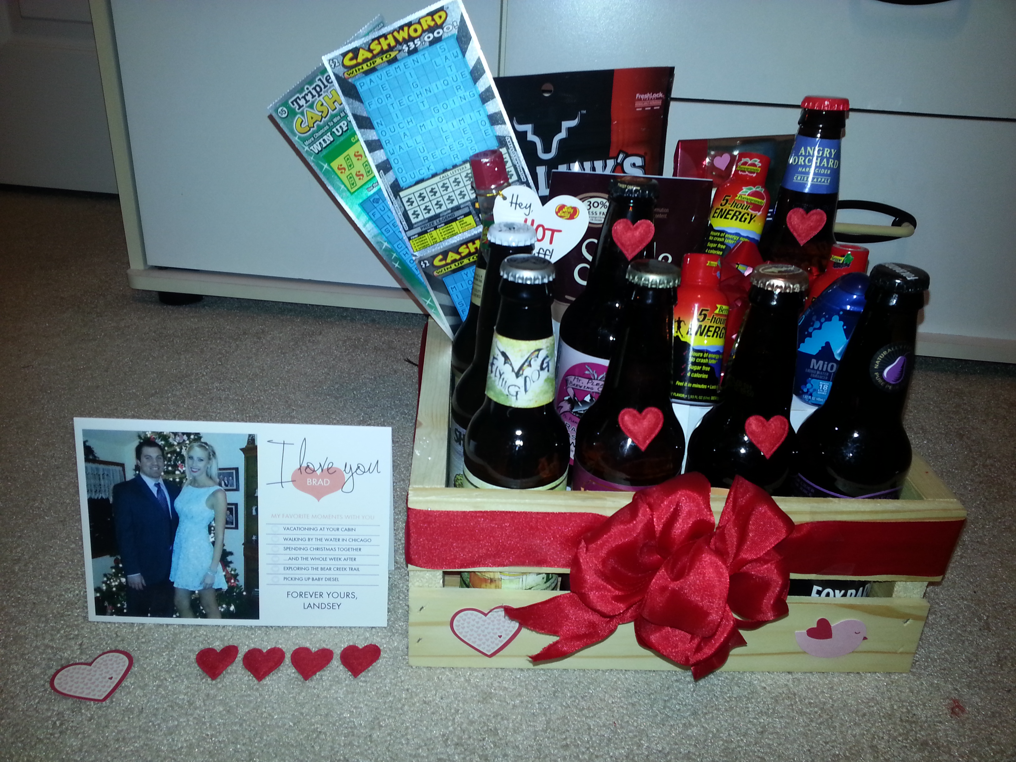 DIY Custom Craft Beer Gift Basket For Valentines Day