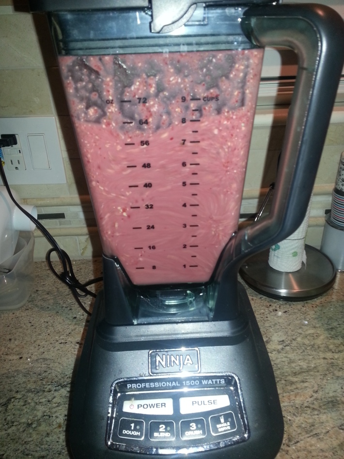Strawberry-Banana-Oatmeal smoothie in Ninja Blender